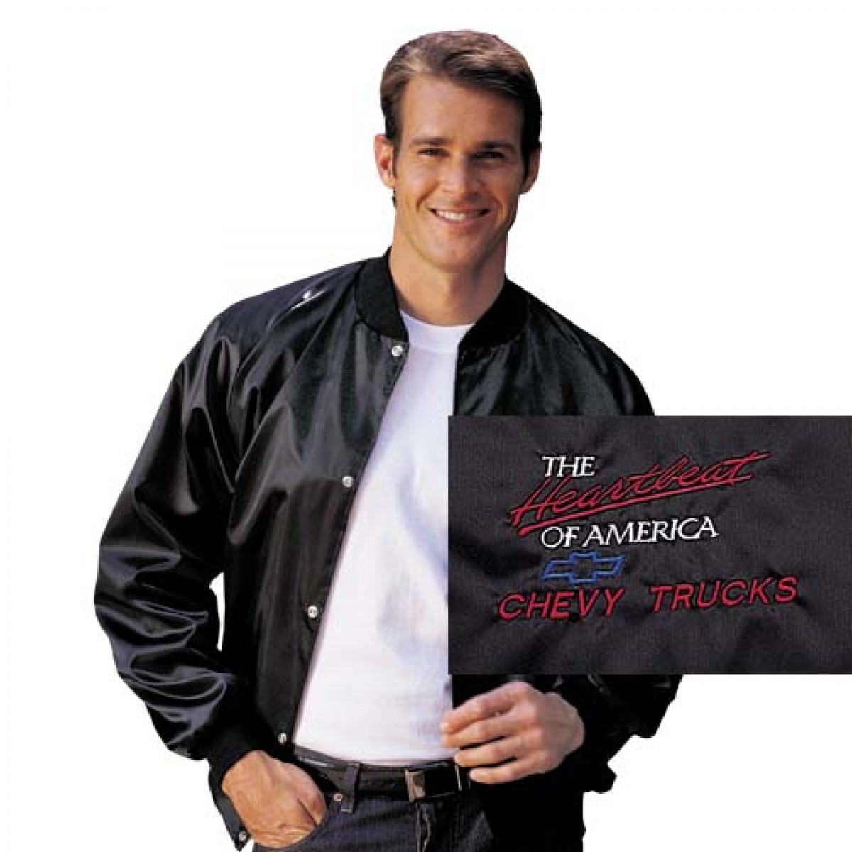 Heartbeat of america with chevy trucks satin jacket