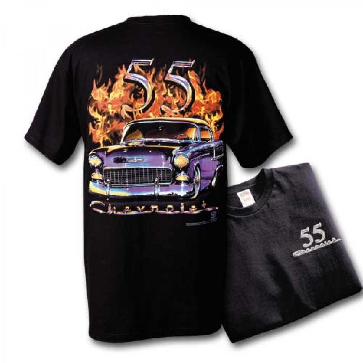 55 Chevy With Flames T Shirt Hot Rod