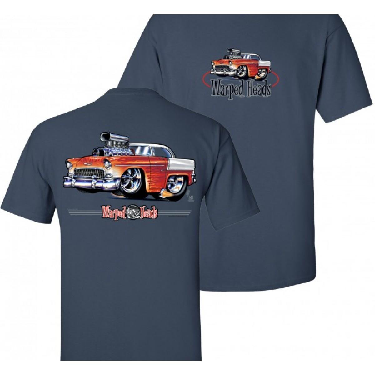55 Chevy Warped Heads T Shirt