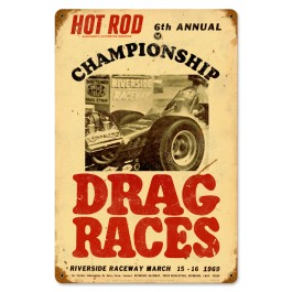"""""""Championship Drag Races"""" Sign from our Hot Rod Magazine Collection"""