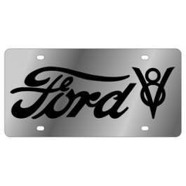 Ford V8 License Plate - Stainless Style