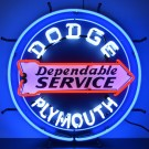 Dodge Plymouth Dependable Service Neon Sign