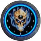 8 Ball Skull Neon Clock