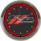 Dodge Challenger Red Neon Clock