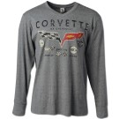 Corvette with Decals Long Sleeve V Neck T Shirt