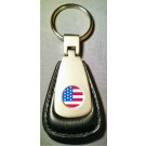 AMERICAN FLAG LOGO BLACK LEATHER FOB