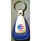 AMERICAN FLAG LOGO BLUE LEATHER FOB