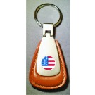 AMERICAN FLAG LOGO BROWN LEATHER FOB