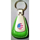AMERICAN FLAG LOGO GREEN LEATHER FOB