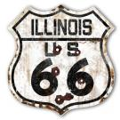 ROUTE 66 ILLINOIS HIGHWAY SIGN - RUST