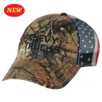 Chevy Trucks Camo Trucker Hat with American Flag